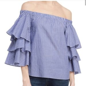 Romeo & Juliet Ruffle Off Shoulder Blouse Striped